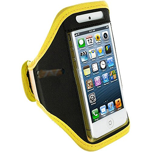 Mylife (Tm) Yellow + Black Velcro Strap (Light Weight Flexible Neoprene + Secure Running Armband) For Apple Iphone 5C, 5S And 5 (5G) 5Th Generation Itouch Phone (Universal One Size Fits All + Velcro Secured + Adjustable Length + Pu Leather Trim + All Top