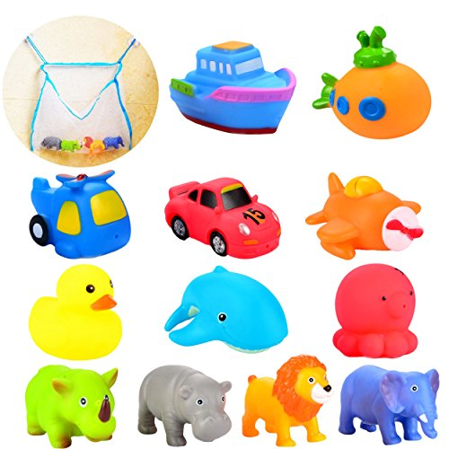 Joyin Toy Twelve 3.5-Inch Squirter Squeaker Rubber Bath Toy Set with Organizer (Cars Deluxe Toy Organizer compare prices)