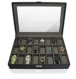 GGI INTERNATIONAL 24 Watches Large Box Black Leather Display Glass Top Jewelry Case Organizer