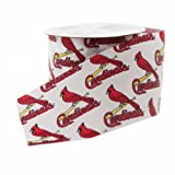 Offray MLB St. Louis Cardinals Fabric Ribbon, 2-1/2-Inch by 9-Feet, White/Red
