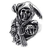 """KONOV Bijoux Bague Homme - Tête de mort - Grande Faucheuse """"Grim Reaper"""" - Acier Inoxydable - Anneaux - Fantaisie - pour Homme - Couleur Noir Argent - Taille 70..."""
