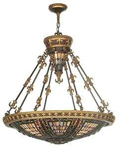Meyda Tiffany 19808 Fleur-De-Lis Collection 6-Light Inverted Pendant, Mahogany Bronze and Antique Gold Finish with Jeweled Stained Glass Shade