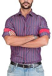 Botticelli Men's Red Stripes Shirt (3592-FULL-B-S_Red_Small)