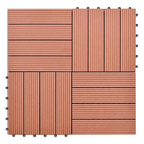 40825 WPC Fliesen, 11-teilig, für terrasse, Balkon, Garten, 30 x 30 cm, braun