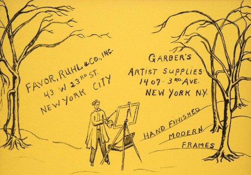 1952-original-lithograph-favor-ruhl-garber-artist-supplies-artist-palette-forest-original-lithograph