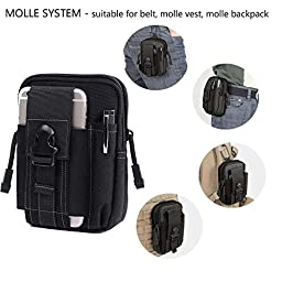 Gudelaa Black Tactical Molle Pouch EDC Utility Gadget Belt Waist Bag with Cell Phone Holster Holder for iPhone6s Plus
