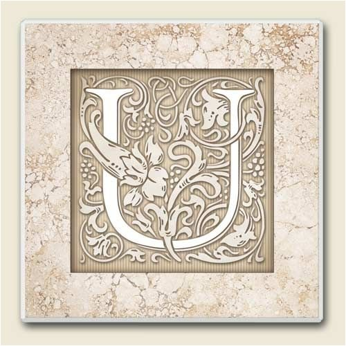 AbsorbaStone Coaster set~ Monogram Initial U ~ 4 Tile Drink Coasters ~ code 590C
