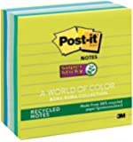 Post-it Recycled Super Sticky Notes, 4 in x 4 in, Bora Bora Collection, Lined, 6 Pads/Pack, 90 Sheets/Pad (675-6SST)