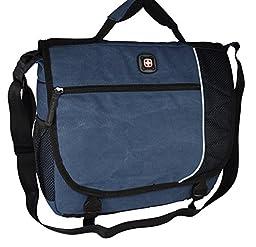 SwissGear Earth Messenger Computer Laptop / Ipad Case. Business Briefcase Blue
