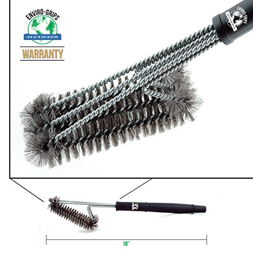 Big Save! Stainless Steel Grill Brush by Enviro Grips - 5 Out of 5 Stars BBQ Grill Accessories - Bar...