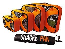Shacke Pak - 4 Set Packing Cubes - Travel Organizers with Laundry Bag (Mandarin Orange)