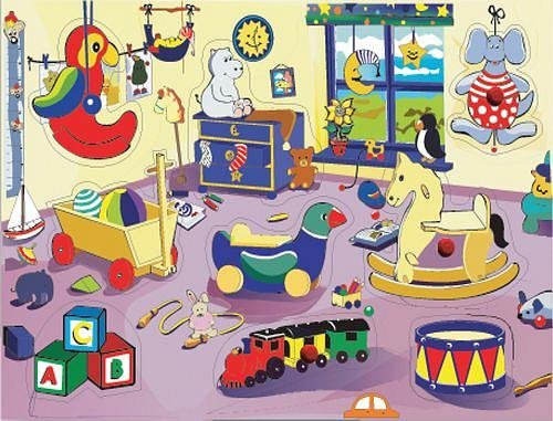 Picture of Fun Kids Bedroom - Wooden Peg Puzzle (B002P8PT8S) (Pegged Puzzles)