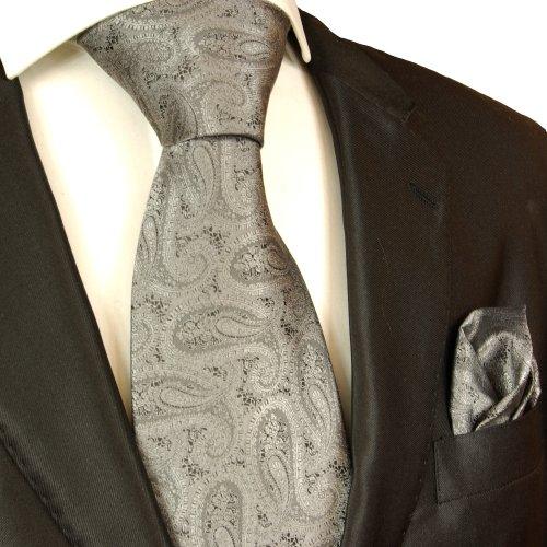 Necktie Set 2pcs. Tie & Handkerchief by Paul Malone silver gray black paisley wedding tie for men