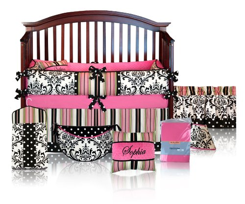 Custom Boutique Baby Bedding - Hot Pink Damask Polka Dot - Sophia 5 Pc Crib Bedding Set