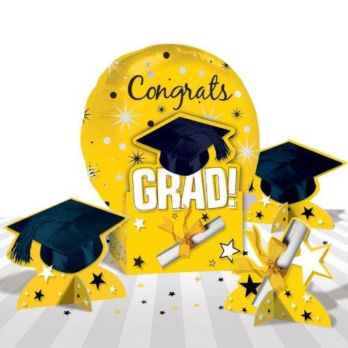 Amscan 202636 Congrats Grad Yellow Graduation Balloon Centerpiece