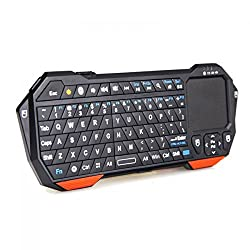 iClever Ultra Portable Mini Wireless Bluetooth Keyboard Handheld with Mouse Touchpad Backlight Rechargeable Lithium Battery for Bluetooth Enabled Devices - Android 3.0 + Tablets / Mac OS / Windows / Google Nexus 7 / Google Android TV Box / Samsung Galaxy S4 S2 S3 Note Tab / Apple iPhone 4 4S 3GS 3G / iPad 2 3 4 5 / iPad Mini / PS3 & HTPC / IPTV HTPC