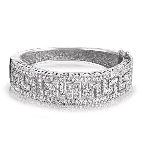 Bling Jewelry Pave CZ Art Deco Style Greek Key Bangle Bracelet