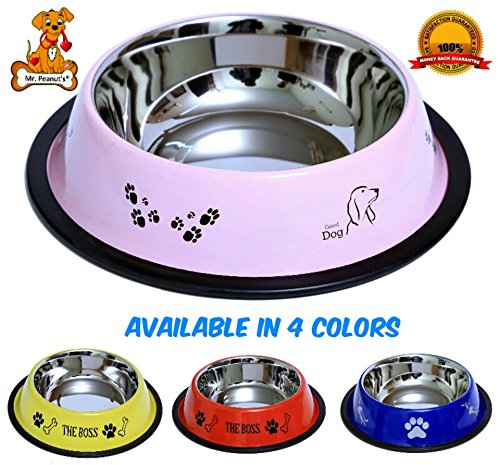 Mr. Peanut's Premium Stainless Steel Dog Bowl, Rust Proof with Non-Skid Durable Natural Rubber Base That Won't Slip, 32oz (Dry Weight) Pet Feeding Bowls (Glossy Pink) (Ness Espresso compare prices)