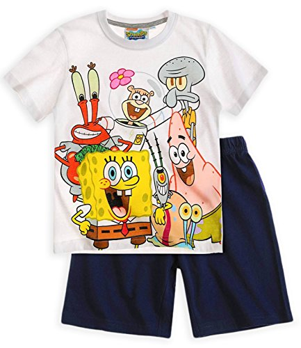 Boys Nickelodeon Short Sleeved Spongebob Squarepants Pajama Set Navy