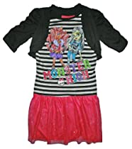 Monster High Girls Drop Waist Dress w/ Attached Shrug (XL (14/16), Pink/Black/White)