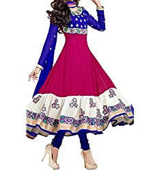 Krishna Women's Georgette Dress Material With Dupatta.