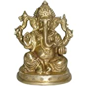 Ganesh Sitting Medium Handicraft Fine India Art 2568 By Vyomshop