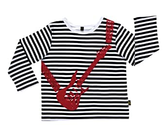 Rockabye-Baby Guitar Long Sleeve T-Shirt (Black/White, 12-18 Months)