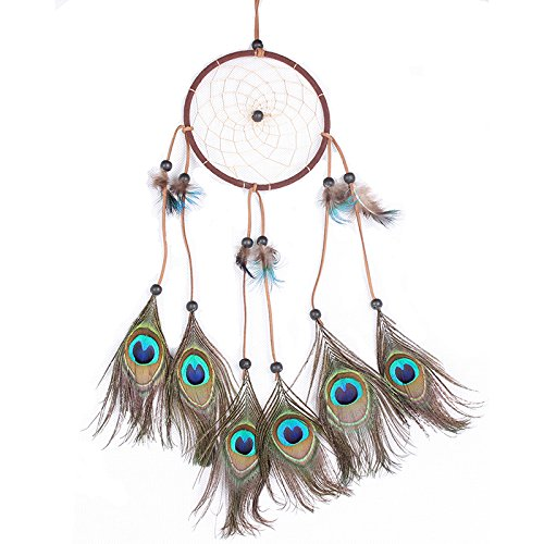 Cren Handmade Circular Net Dream Catcher with peacock Feathers Car wall Hanging Decor Decoration Ornament Crafts Gift