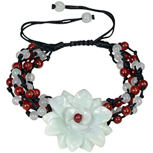 Jadeite Jade Daisy Dust Red and Green Black Cord Bracelet