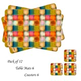 Table Mats With Coasters Set Of 12 Peices Print Checks