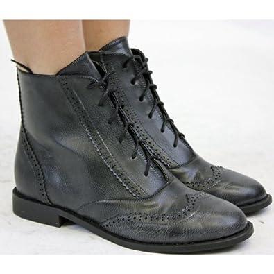 Shoefashionista Bottes Femme Plates Bottines Brogues Classiques
