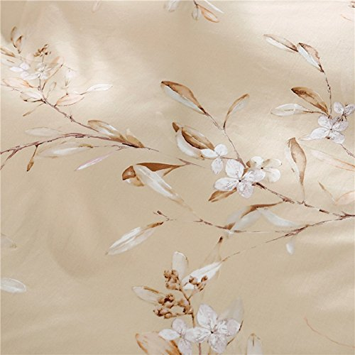 Vintage Botanical Flower Print Bedding 400tc Cotton Sateen Romantic Floral Scarf Duvet Cover 3pc Set Colorful Antique Drawing of Summer Lilies Daisy Blossoms (King, Natural) 1