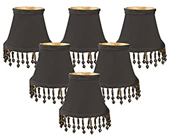 pack 5 beaded bell black gold lining chandelier lamp shade. Black Bedroom Furniture Sets. Home Design Ideas