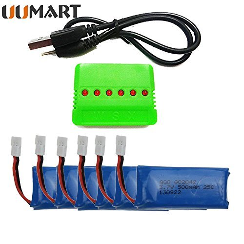 UUMART 6PCS 3.7V 500mAh Battery With Charger For Hubsan Syma