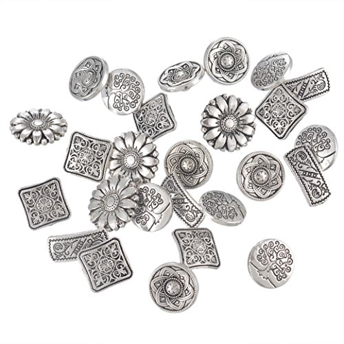 Discover Bargain Souarts Mixed Antique Silver Color Flower Metal Buttons Pack of 50pcs