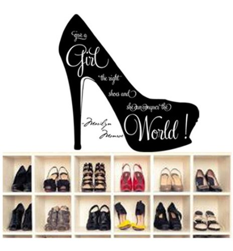 """Innovational Marilyn Monroe Wall Quote """"Give A Girl The Right Shoes And She Can Conquer The World"""" Girl'S Room Quote Decor Words Vinyl Letters In High Heels Life Inspirational Motto For Girls Wall Sign (Black) front-334013"""