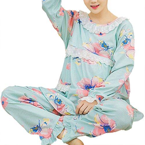 (マーシェル) Marshel 高品質 やわらか素材 かわいい 授乳口付パジャマ 兼 リラックス ルームウェア 服を着たまま簡単授乳 ボタニカル柄 ブルー XXL