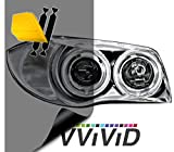 "VViViD Air-Tint Extra-Wide Headlight Taillight Vinyl Tint Wrap 16"" x 48"" Roll Including Yellow Detailer Squeegee & 2X Black Felt Edge Decals (Smoke Black)"