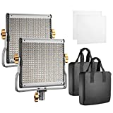 NEEWER 2 PACKS DIMMABLE BI-COLOR 480 LED, con soporte en U Luz de video profesional para estudio, Kit de iluminación para fotografía de video para exteriores de YouTube, Marco de metal duradero, 3200-5600K, CRI 96