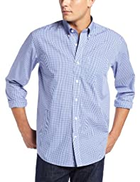 Cutter & Buck Men\'s Long Sleeve Epic Easy Care Gingham Shirt, French Blue, Large