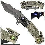LED Flashlight Tactical Rescue Pocket Knife US Army Camo (Color: Digital Camouflage, Tamaño: Pocket Size)