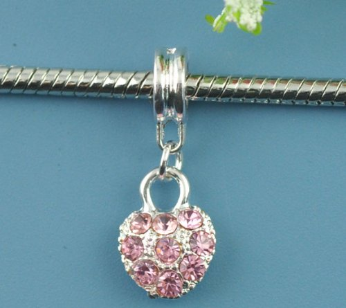 Believe Beads © 1 X Silver Plated Heart with Pink Rhinestones Charm Bead fits Pandora/Troll/Chamilia style Bracelets