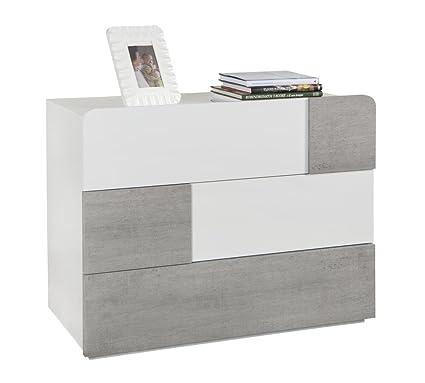 Cómoda con 3 cajones, color blanco lacado y cemento brillante
