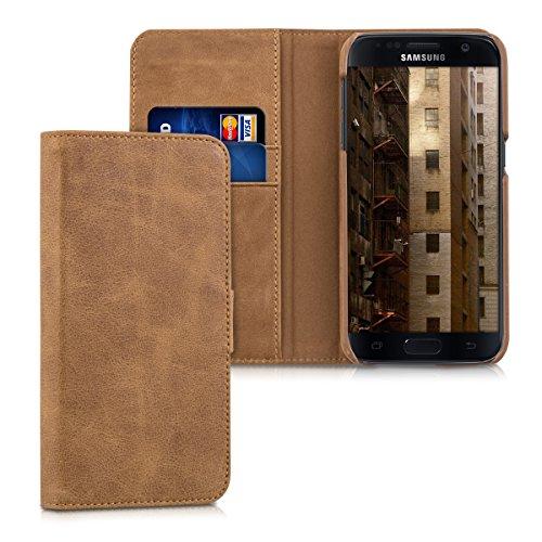 kalibri-Leder-Hlle-James-fr-Samsung-Galaxy-S7-Echtleder-Schutzhlle-Wallet-Case-Style-mit-Karten-Fchern-in-Cognac