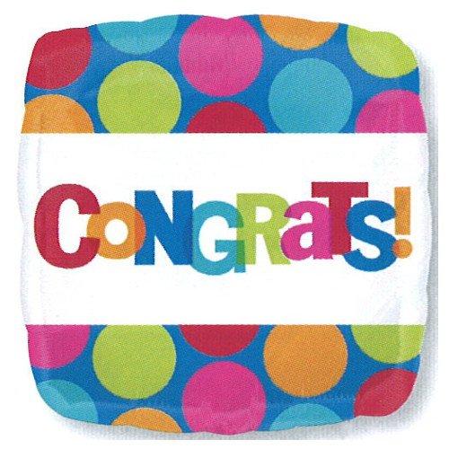 "Anagram International 2451801 Congrats Dots Foil Balloon Pack, 18"""
