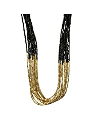 Black & Golden Beads Multifunction Necklace Valentine's By Crunchy Fashion