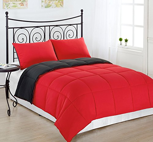 Cozy Beddings Lightweight Reversible Down Alternative Summer Comforter Set, Queen, Red/Charcoal