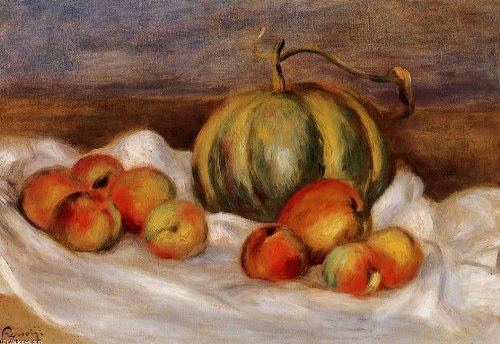 Hand Made Oil Reproduction - Pierre-Auguste Renoir - 24 x 16 inches - Still Life with Cantalope a...