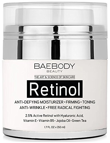 Baebody Retinol Moisturizer Cream for Face and Eye Area - With 2.5% Active Retinol, Hyaluronic Acid, Vitamin E. Anti Aging Formula Reduces Wrinkles, Fine Lines. Best Day and Night Cream 1.7 Fl. Oz. (Yes Eye Cream compare prices)