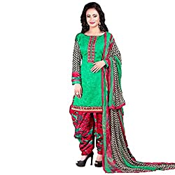 Meera Women's Cotton Unstitched Dress Material (PB5_Green)